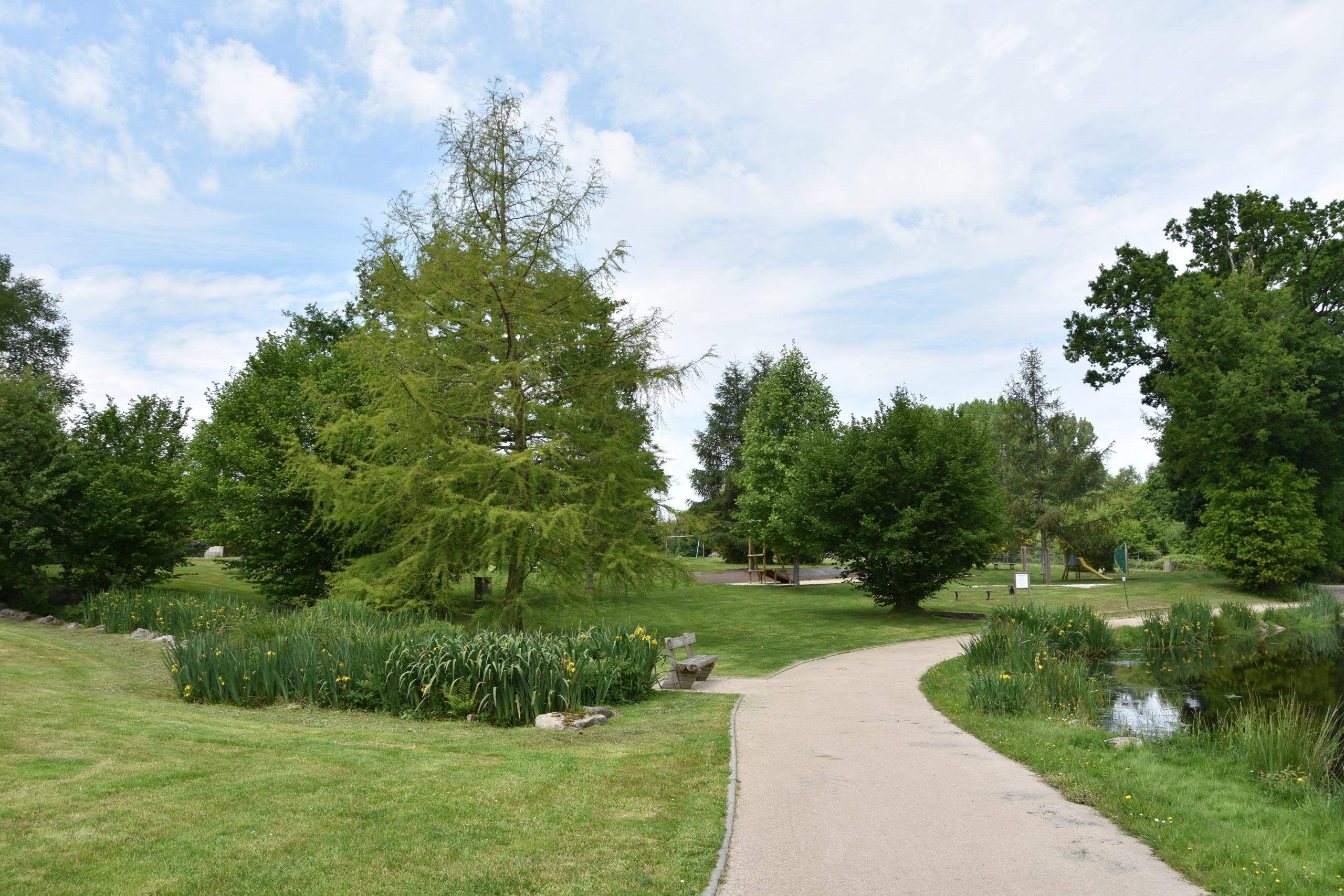 Sentier le long de l'étang du bourg de Pluméliau