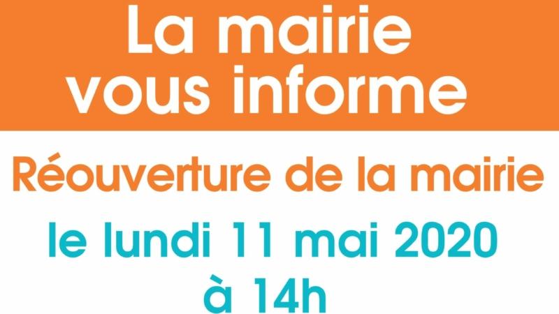 Lundi 11 mai : Réouverture de la mairie